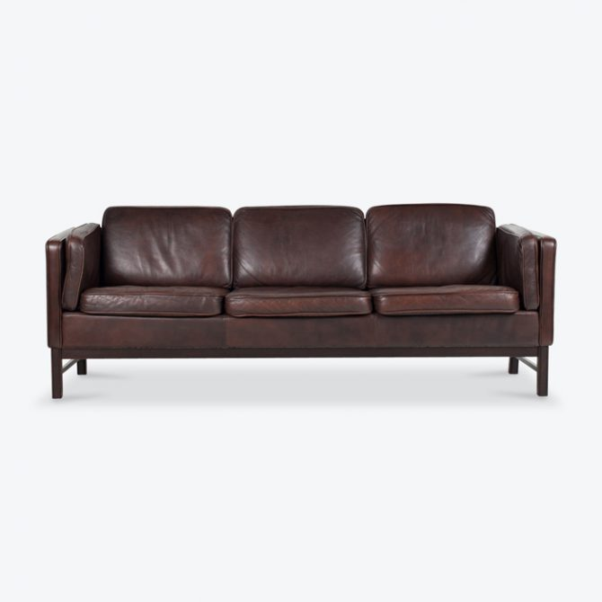 3 Seat Sofa In Brown Leather 1960s Denmark Thumb.jpg