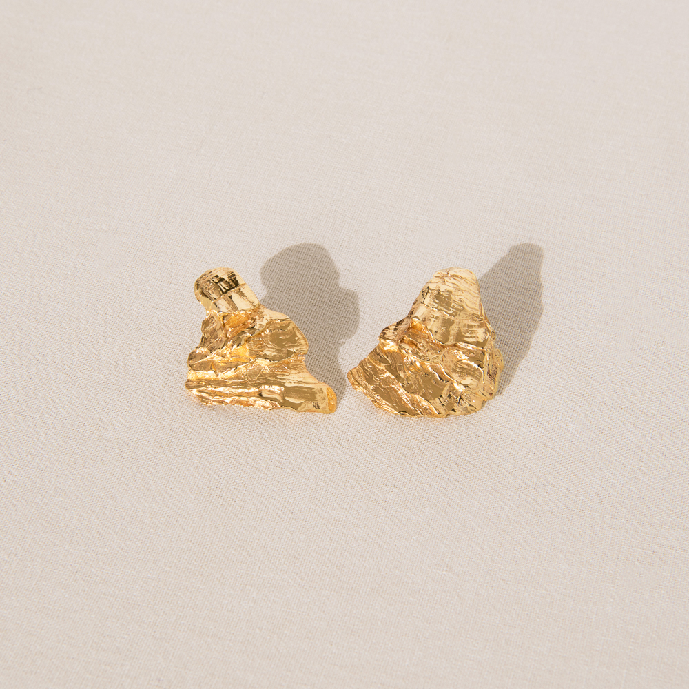 Crustacean Studs 18ct Gold Plated Earrings By By Nye 01