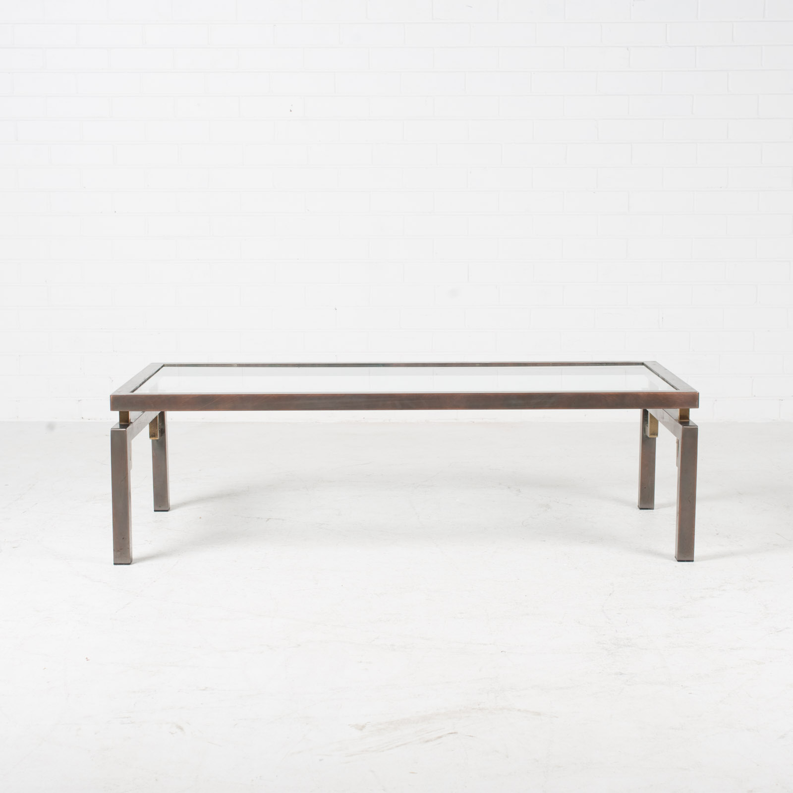 Deco Inspired Coffee Table In Brass And Glass 1970s