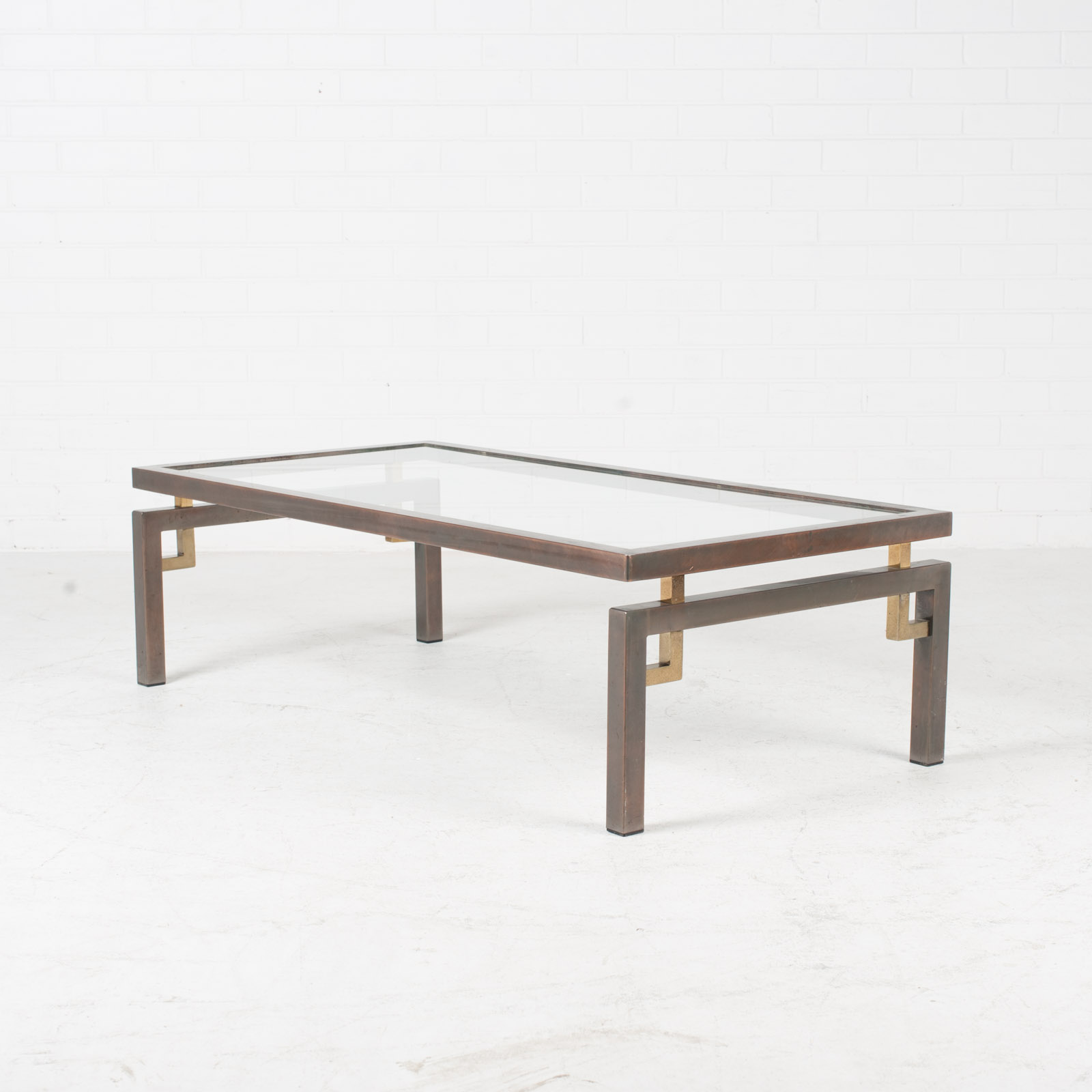 Deco Inspired Coffee Table In Brass And Glass 1970s Belgium 03