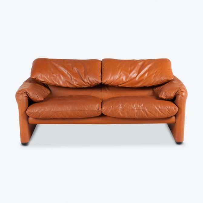 Maralunga 2 Seat Sofa By Vico Magistretti For Cassina In Tan Leather 1970s Italy Thumb.jpg
