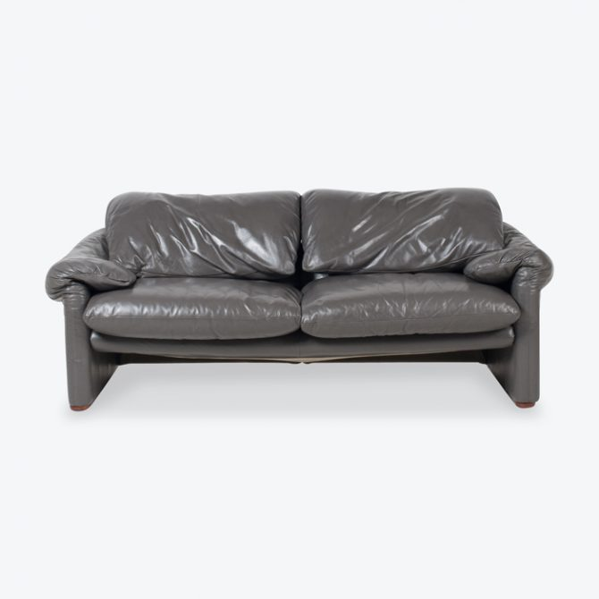Maralunga 3 Seat Sofa By Vico Magistretti For Cassina In Grey Leather 1970s Italy Thumb.jpg