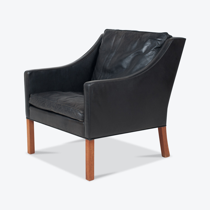 Model 2207 Armchair By Borge Mogensen For Fredericia In Black Leather 1960s Denmark 03 Thumb