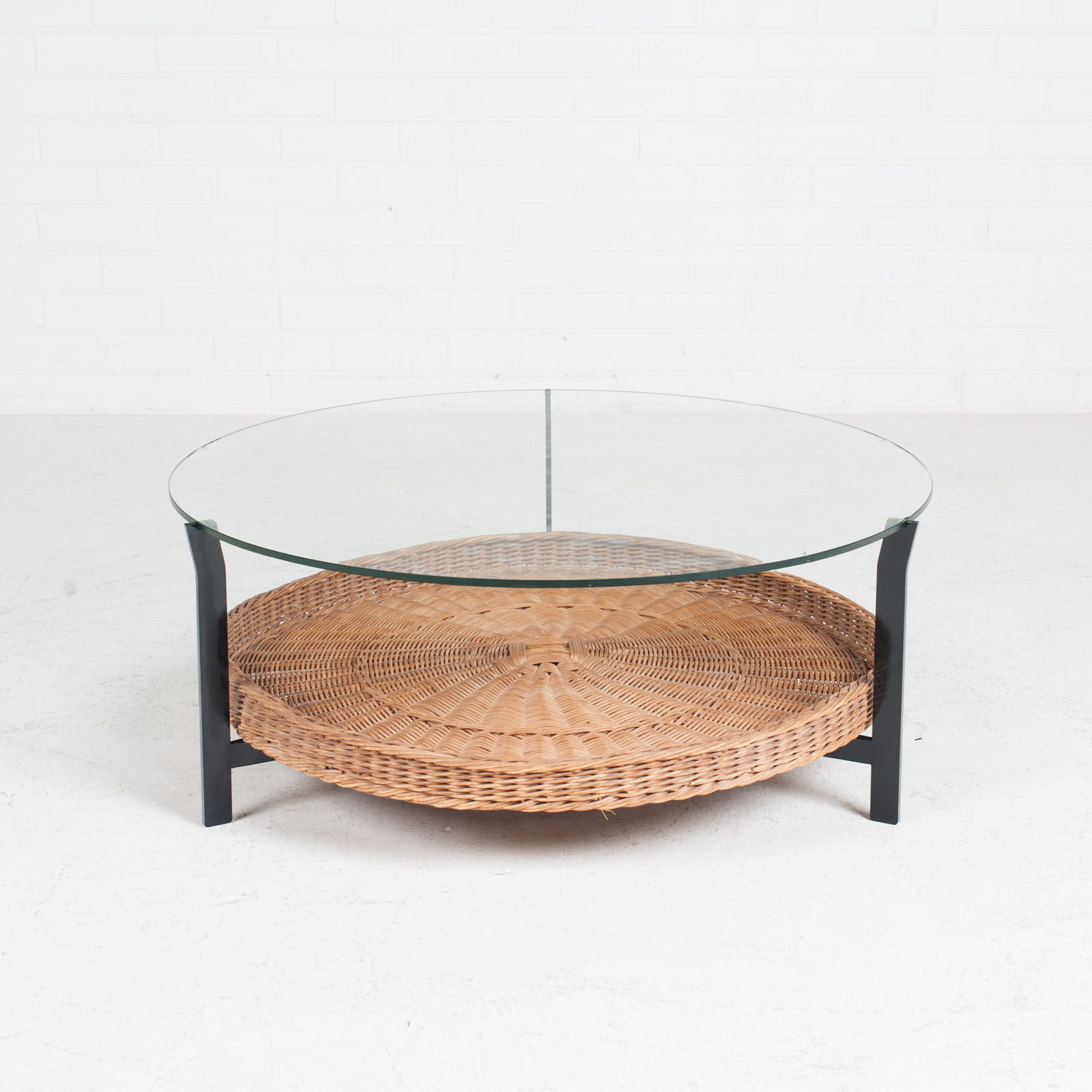 Round Coffee Table With Rattan Base 1960s Denmark 02