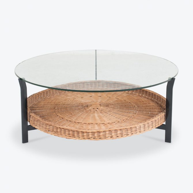 Round Coffee Table With Rattan Base 1960s Denmark Thumb.jpg