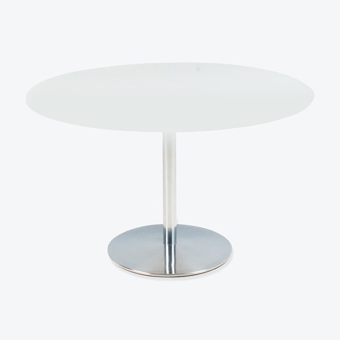 Round White Dining Table With Chrome Base By Ap Originals 1960s Denmark Thumb.jpg