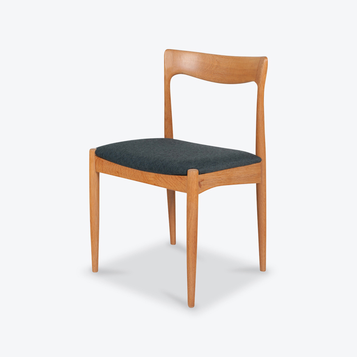 Set Of 6 Dining Chairs By Arne Vodder In Oak And Kvadrat Blue Upholstery 1960s Denmark Thumb