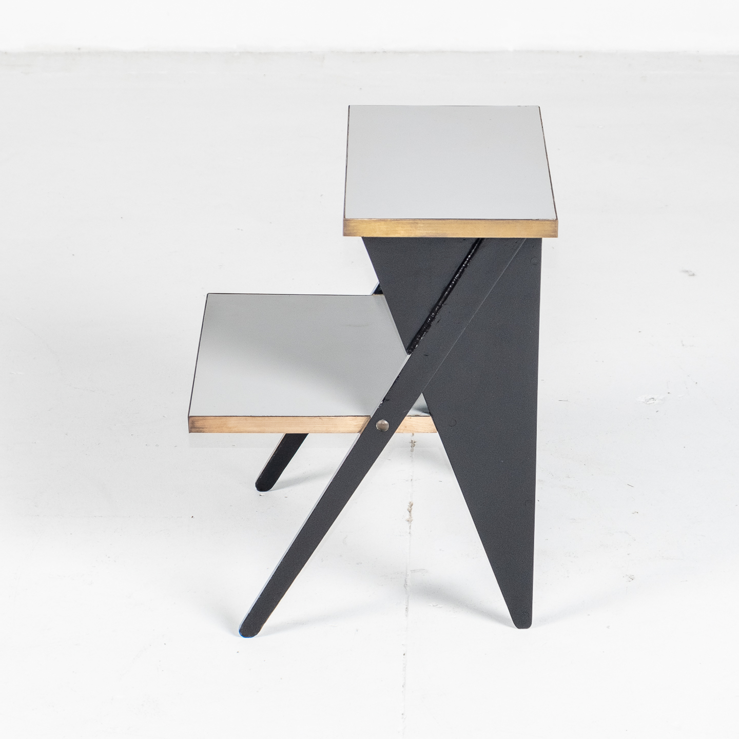 Side Table In The Style Of De Stijl In Brass And Laminate With Ebonised Finish, 1930s, The Netherlands303