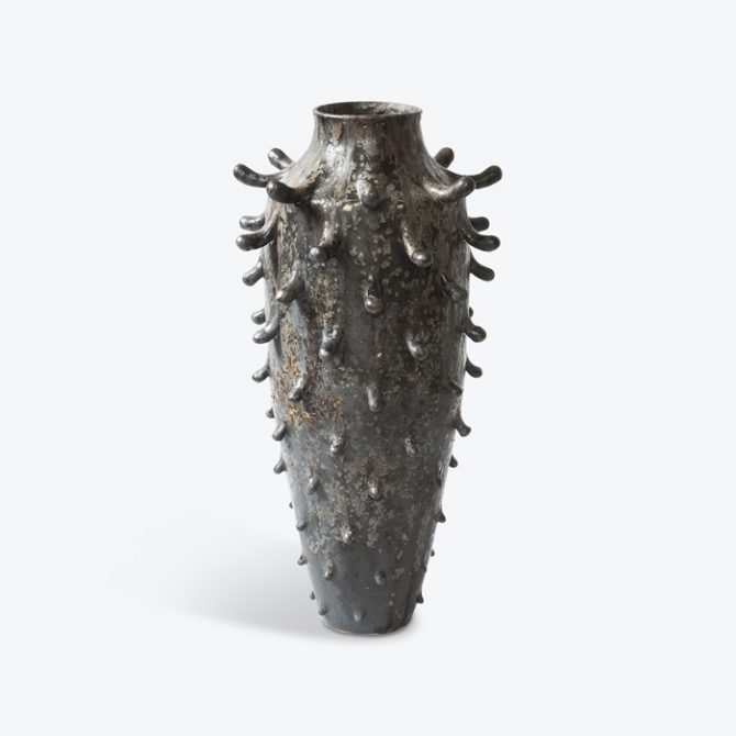 Sunken Vase Oxidation Fired White Stoneware With Matte Black Glaze By Nicolette Johnson Thumb.jpg