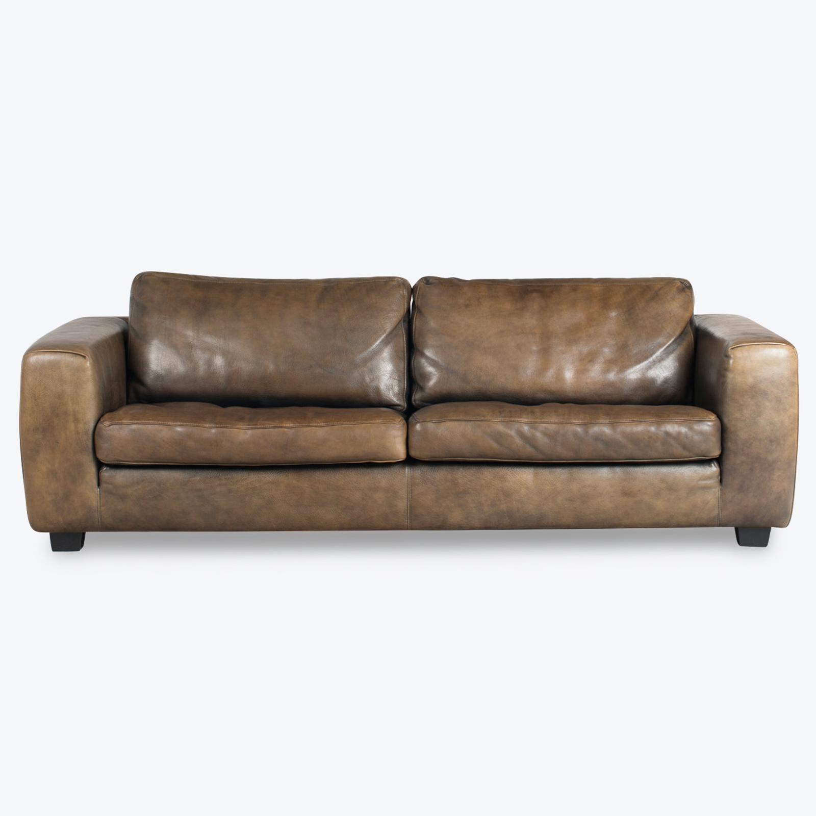 2 Seat Sofa By Molinari In Forest Leather 1980s Netherlands 01