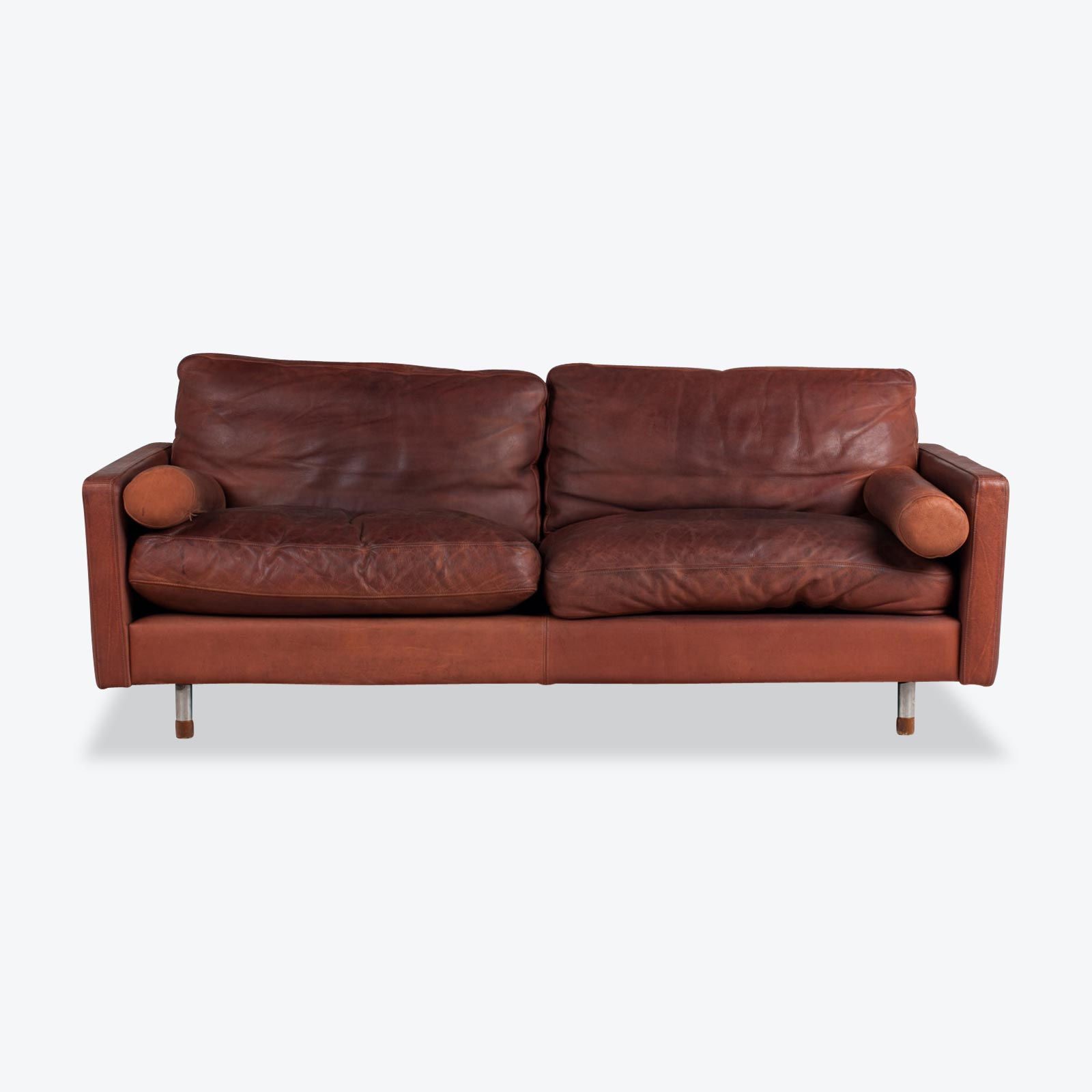 2 Seat Sofa in Burgundy Leather, 1960s, Denmark