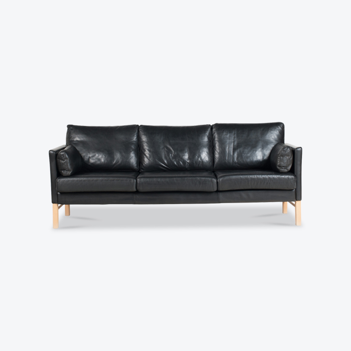 3 Seat Sofa In Black Leather 1960s Denmark Thumb.jpg