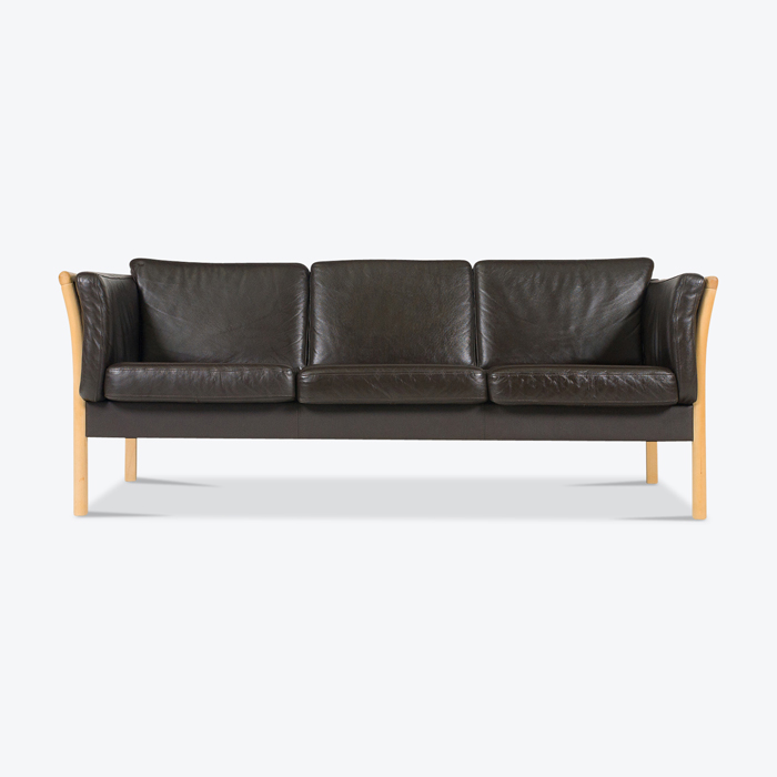 3 Seat Sofa In Black Leather And Beech Frame 1960s Denmark Thumb.jpg