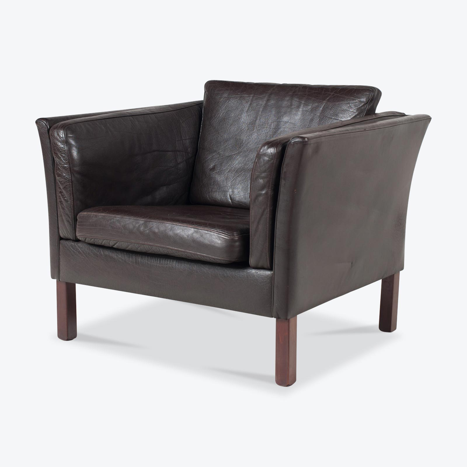 Armchair In Dark Leather With Stained Beech Base 1960s Denmark 02.jpg