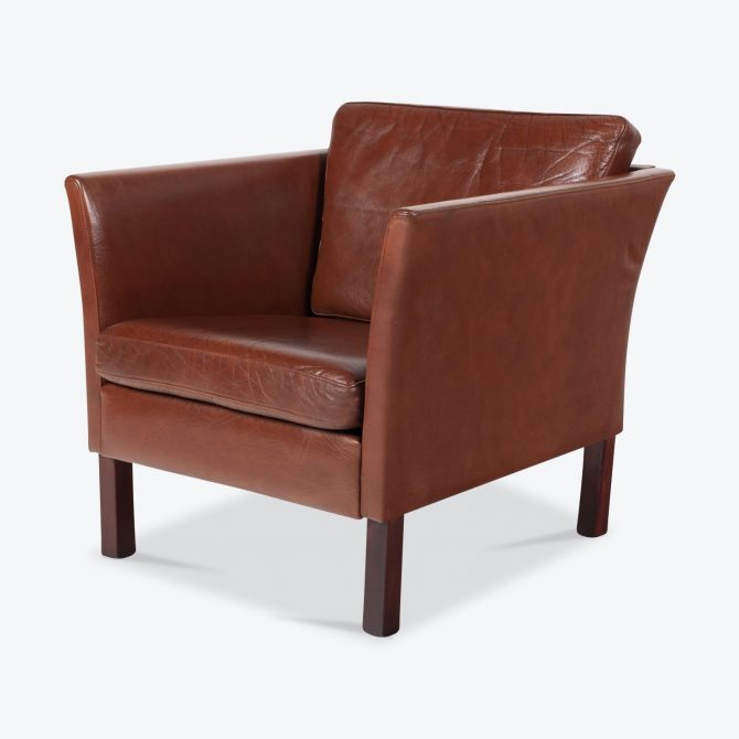 Armchair In Toffee Leather With Beech Base 1960s Denmark.jpg