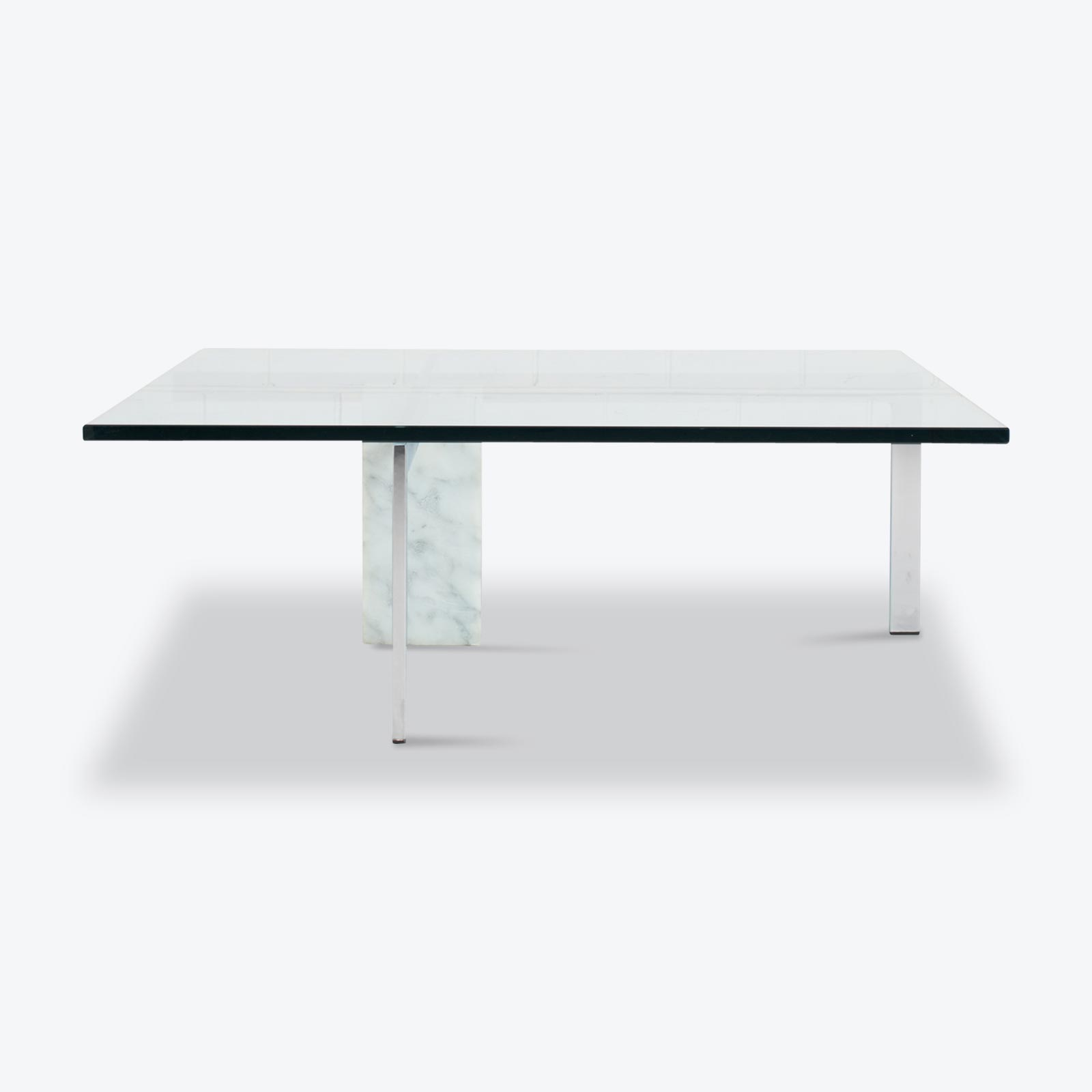 Kw 1 Coffee Table By Hank Kwint For Metaform In Glass With White Marble Base And Chrome 1970s Nethelands 01.jpg