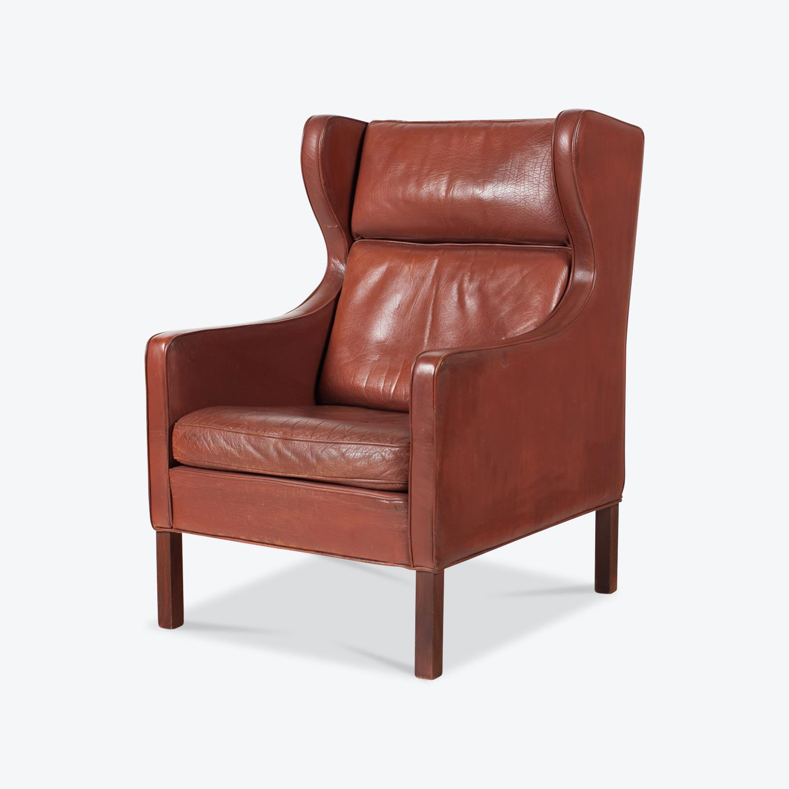 Wingback Armchair In Port Leather 1960s Denmark 02.jpg