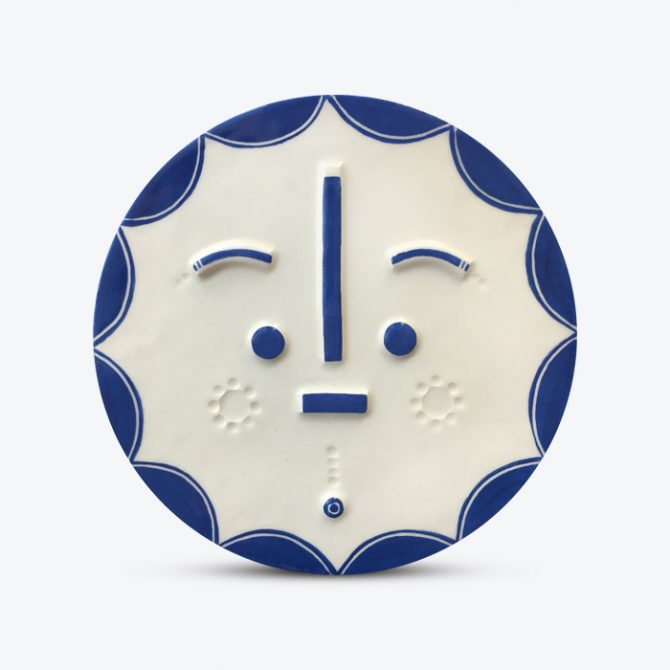 Captain Sunshine Songsung Blue Ceramic Face Wall Hanging By Louise Kyriakou Thumb