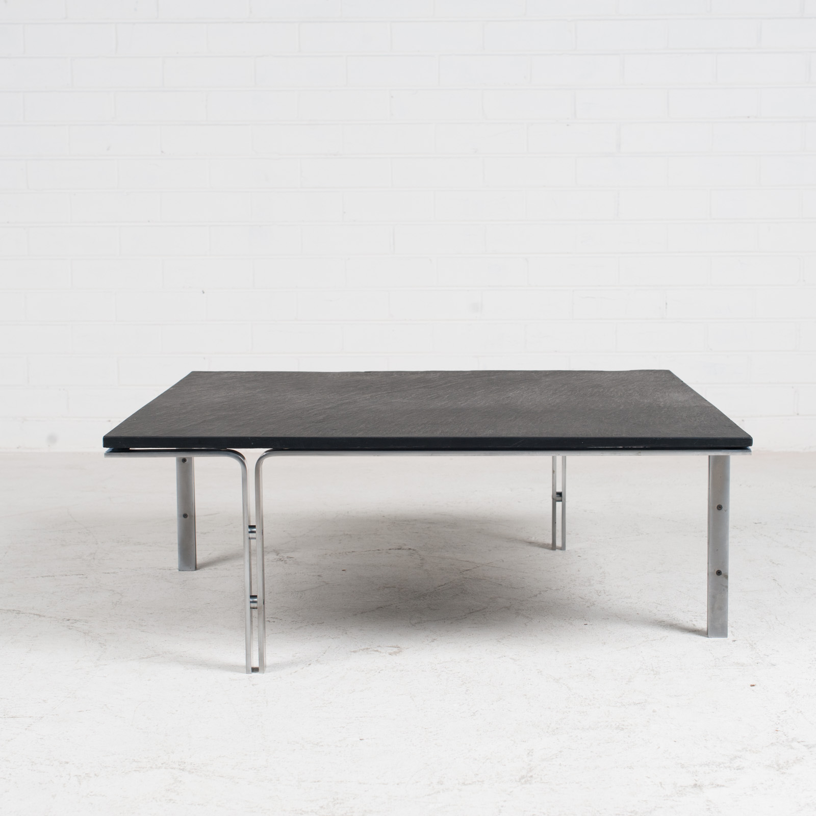 Coffee Table By Hank Kwint For Metaform In Slate And Chrome 1970s Netherlands 01