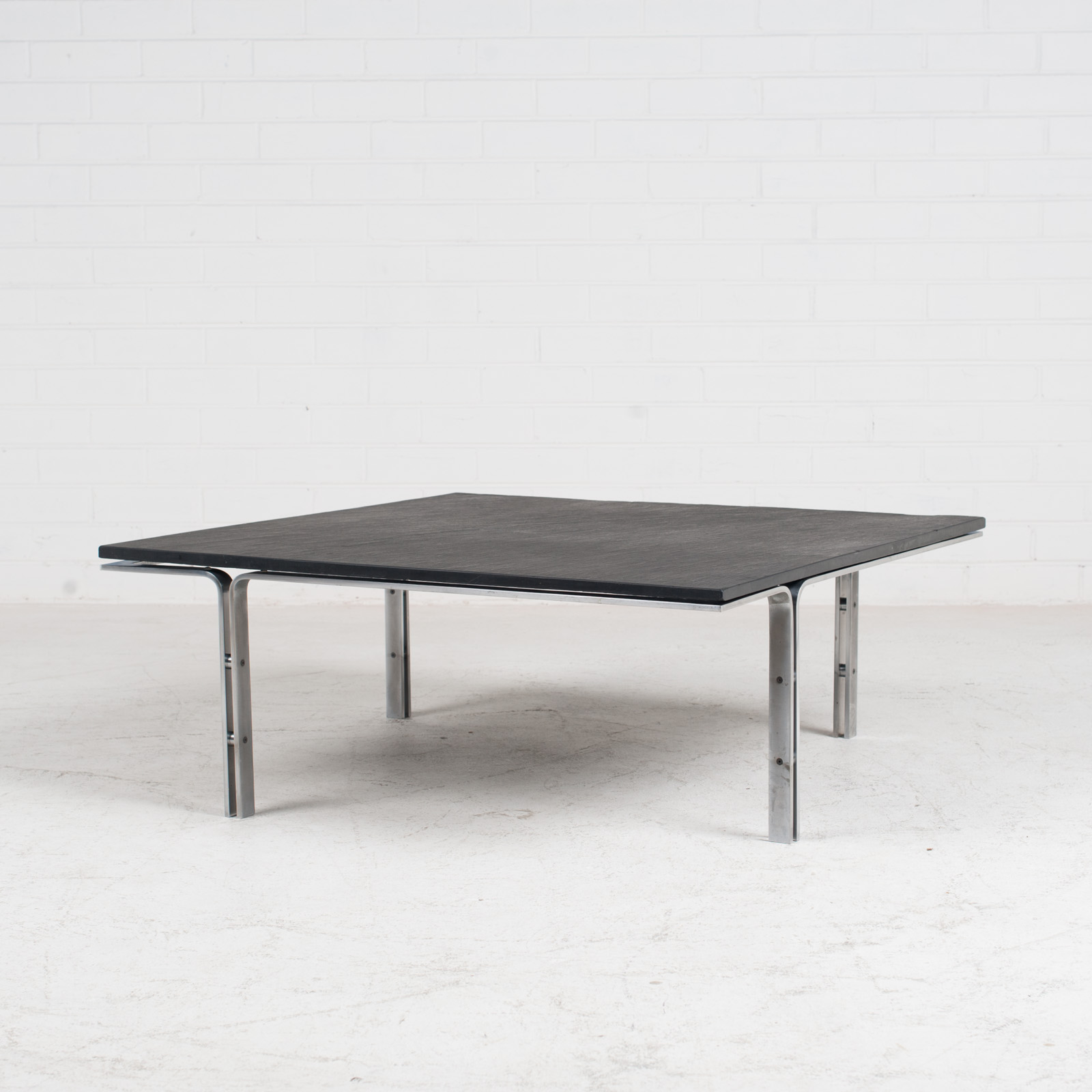 Coffee Table By Hank Kwint For Metaform In Slate And Chrome 1970s Netherlands 02
