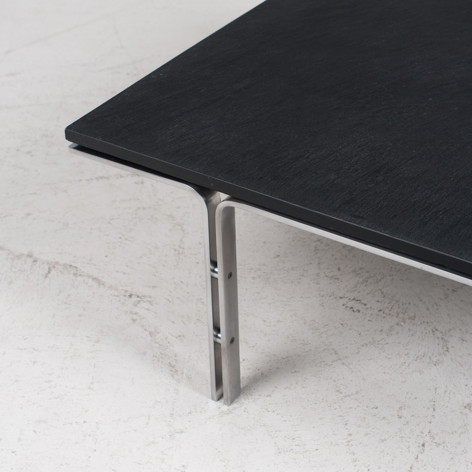 Coffee Table By Hank Kwint For Metaform In Slate And Chrome 1970s Netherlands 03