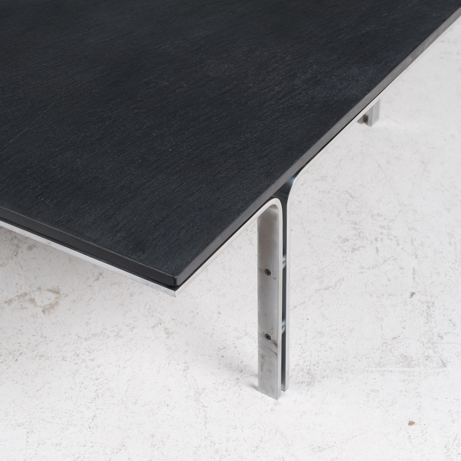 Coffee Table By Hank Kwint For Metaform In Slate And Chrome 1970s Netherlands 04