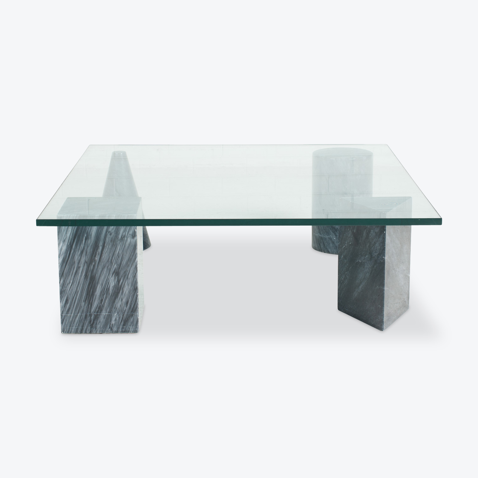 Coffee Table In Glass And Geometric Marble Shapes 1970s Italy 00.jpg