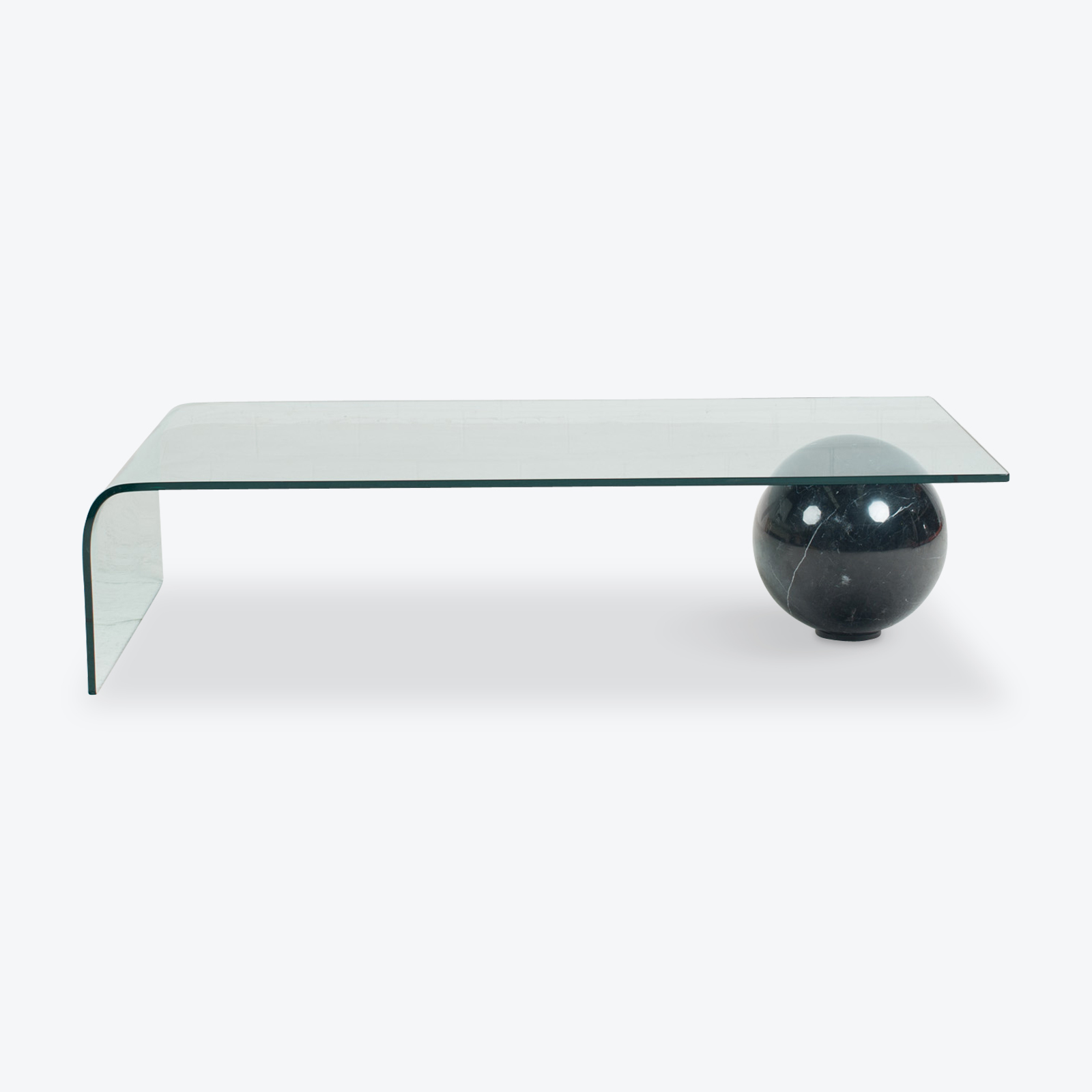 Italian Glass Coffee Table.Rectangular Coffee Table In Curved Glass And Marble 1970s Italy