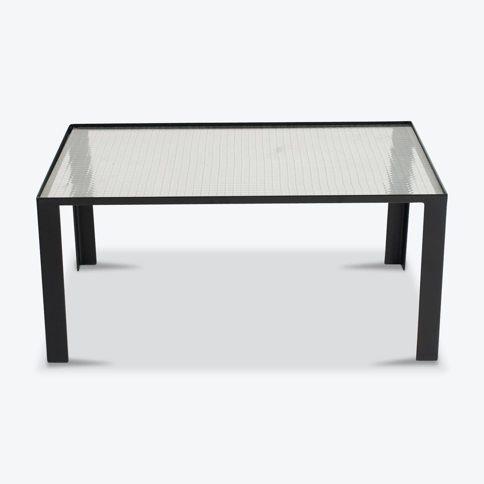 Rectangular Coffee Table With Steel Frame And Glass 1970s Netherlands 00.jpg