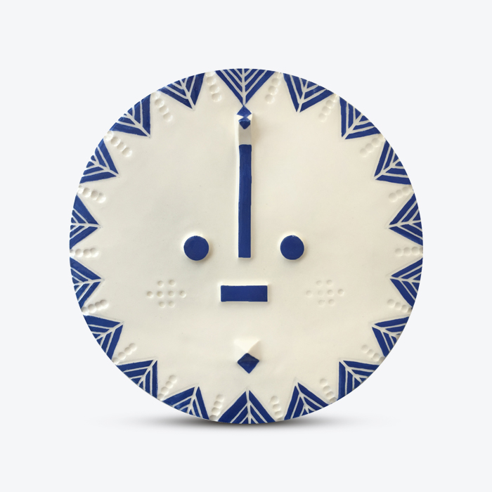 Stargazer Songsung Blue Ceramic Face Wall Hanging By Louise Kyriakou Thumb