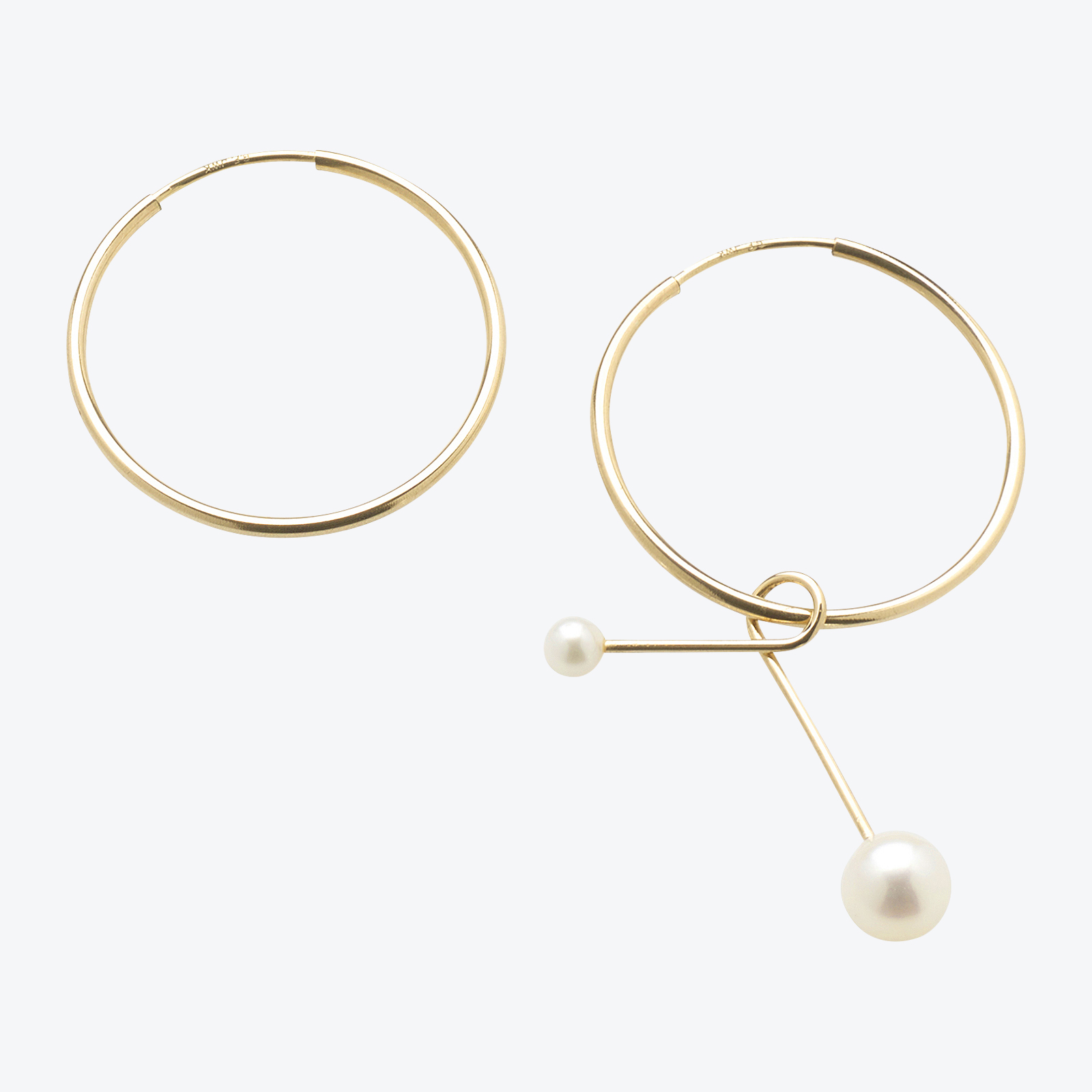 Twirl Hoops In Gold Filled With Freshwater Pearls By Pip Stent 01