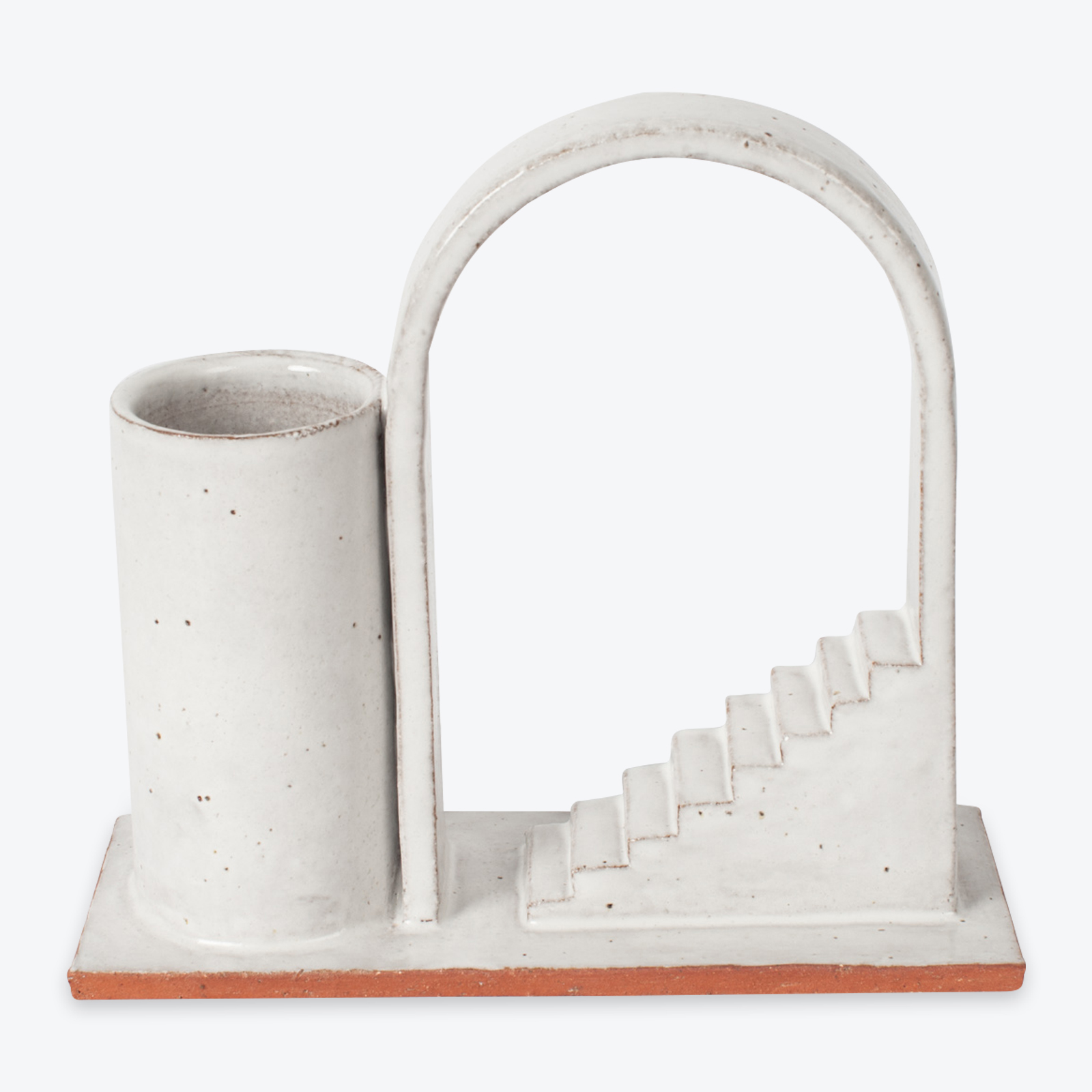 Archway Budvase In Red Terracotta Midfire With White Glaze By Oh Hey Grace 01