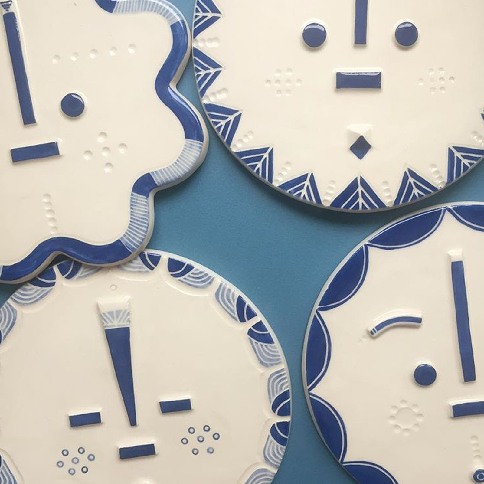 Blue Ceramic Face Wall Hanging By Louise Kyriakou 02