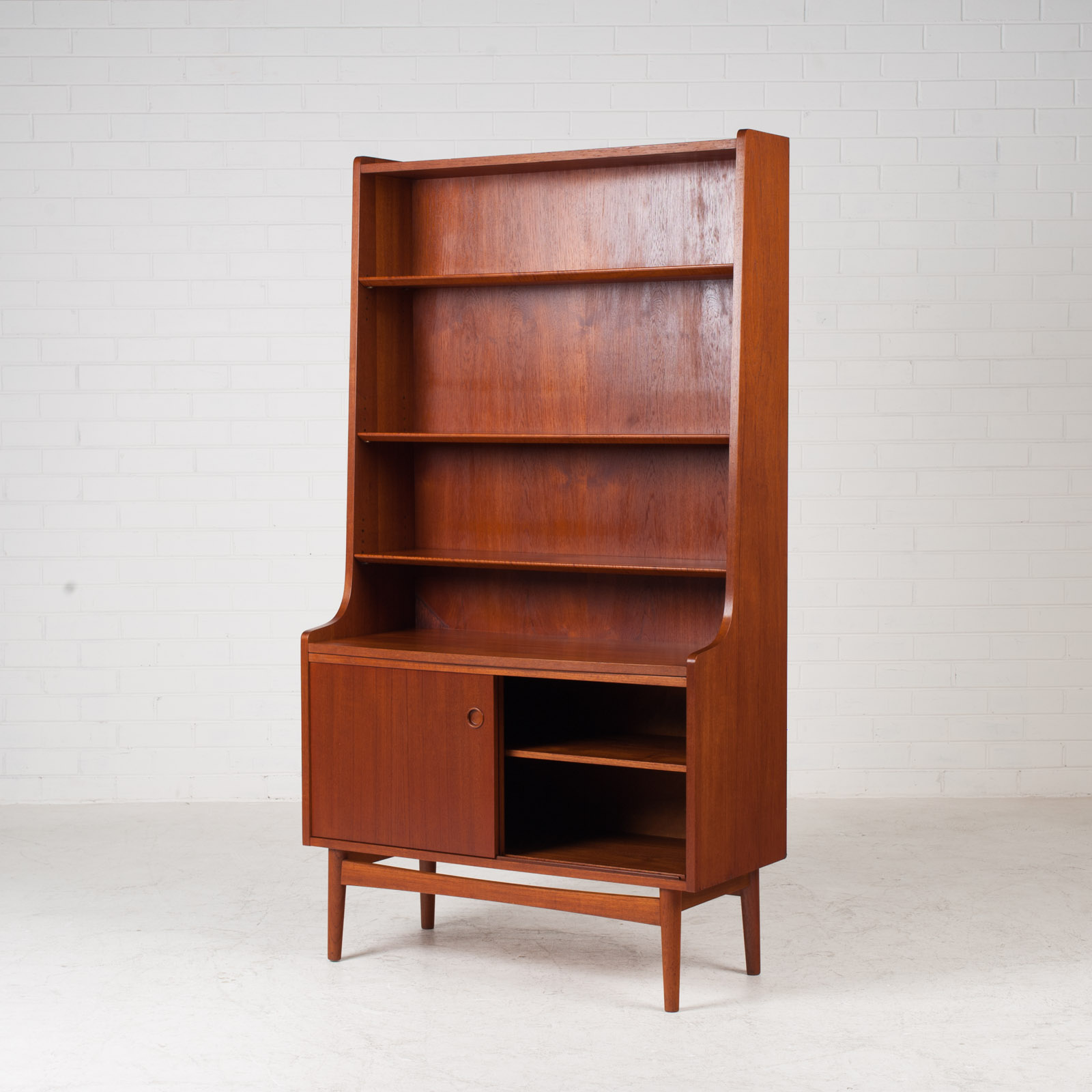 Bookcase With Cabinet And Concealed Desk In Teak 1960s Denmark 05