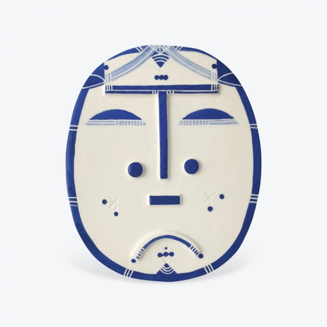 Brooklyn Blue Ceramic Face Wall Hanging By Louise Kyriakou Thumb.jpg