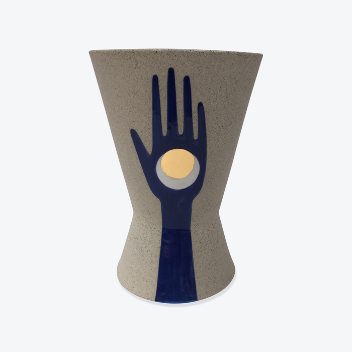 Celestial Mano Planter In Stoneware With Blue Glaze And Gold Lustre By Sharon Muir Thumb.jpg