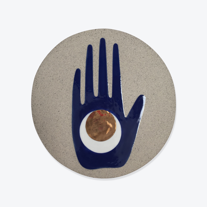 Celestial Mano Wall Piece In Stoneware With Blue Glaze And Gold Lustre By Sharon Muir Thumb.jpg