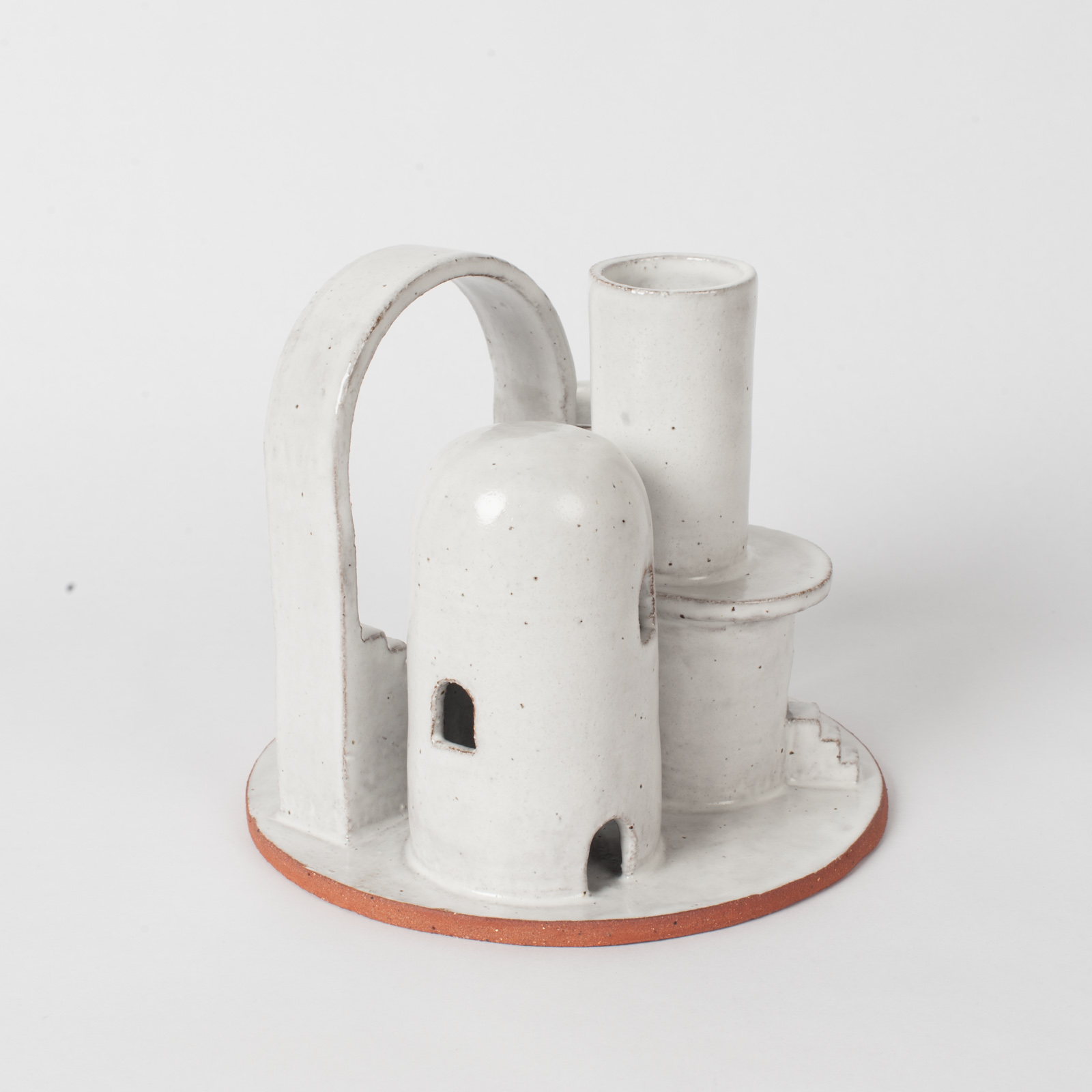 Cityscape Budvase In Red Terracotta Midfire With White Glaze By Oh Hey Grace 02