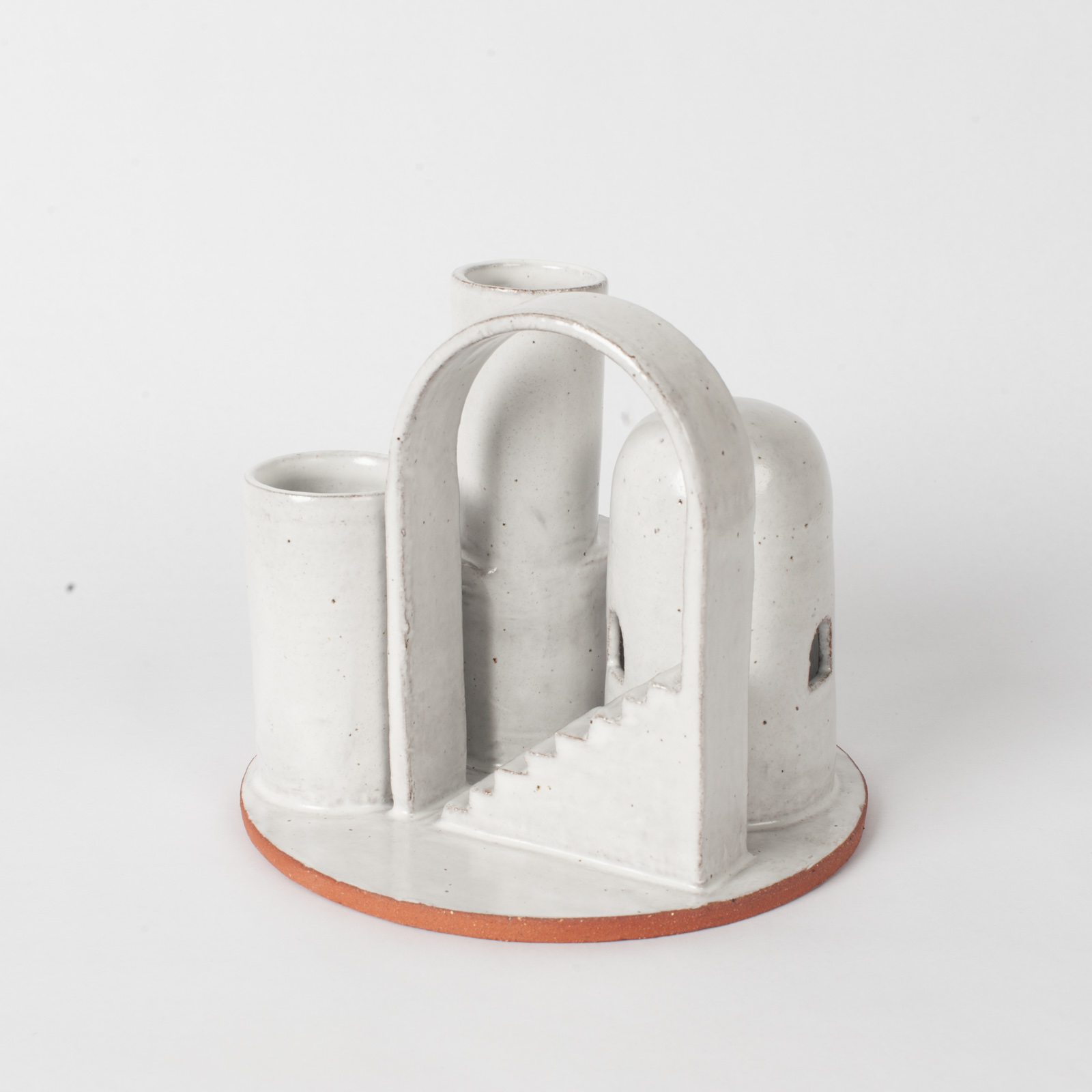 Cityscape Budvase In Red Terracotta Midfire With White Glaze By Oh Hey Grace 03