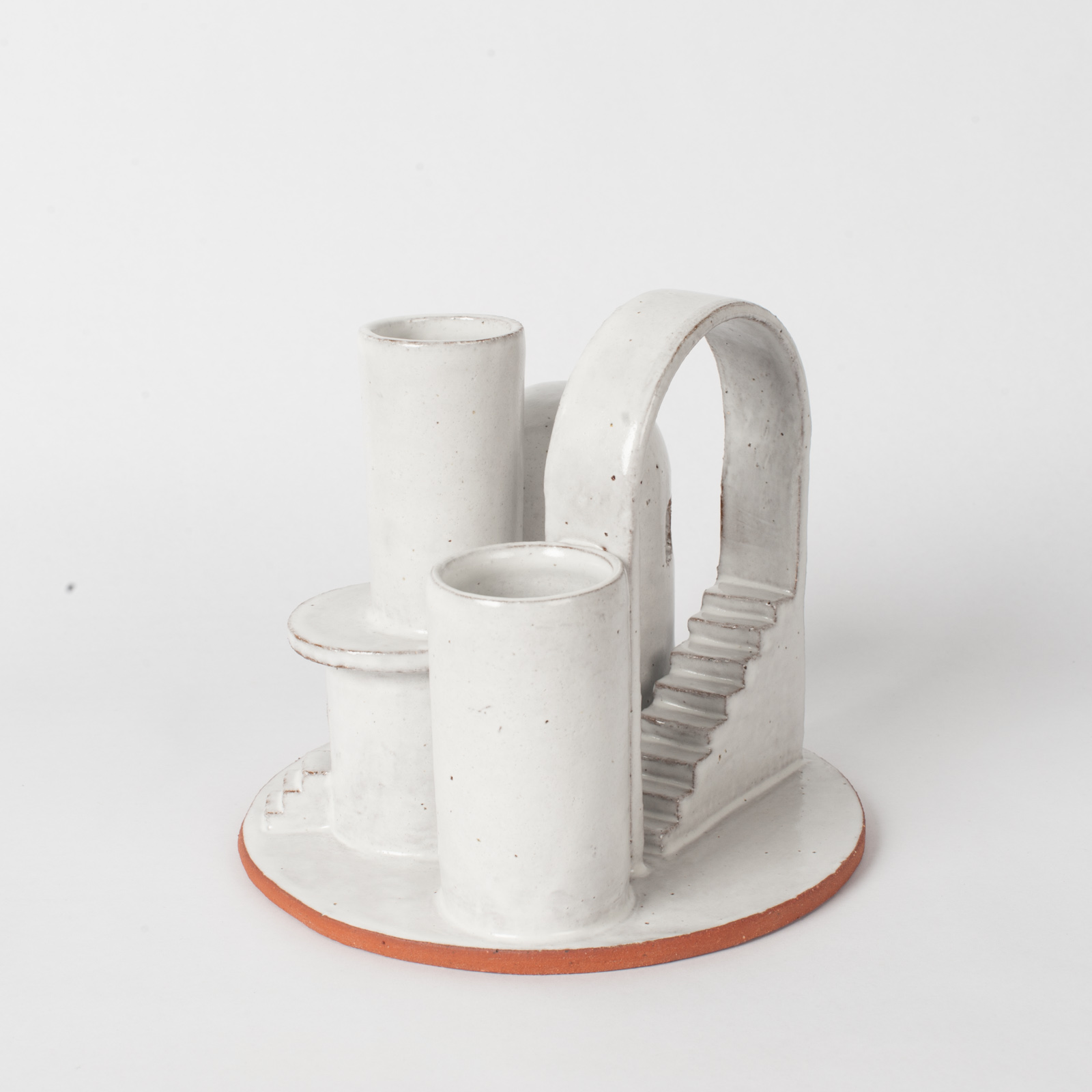 Cityscape Budvase In Red Terracotta Midfire With White Glaze By Oh Hey Grace 04