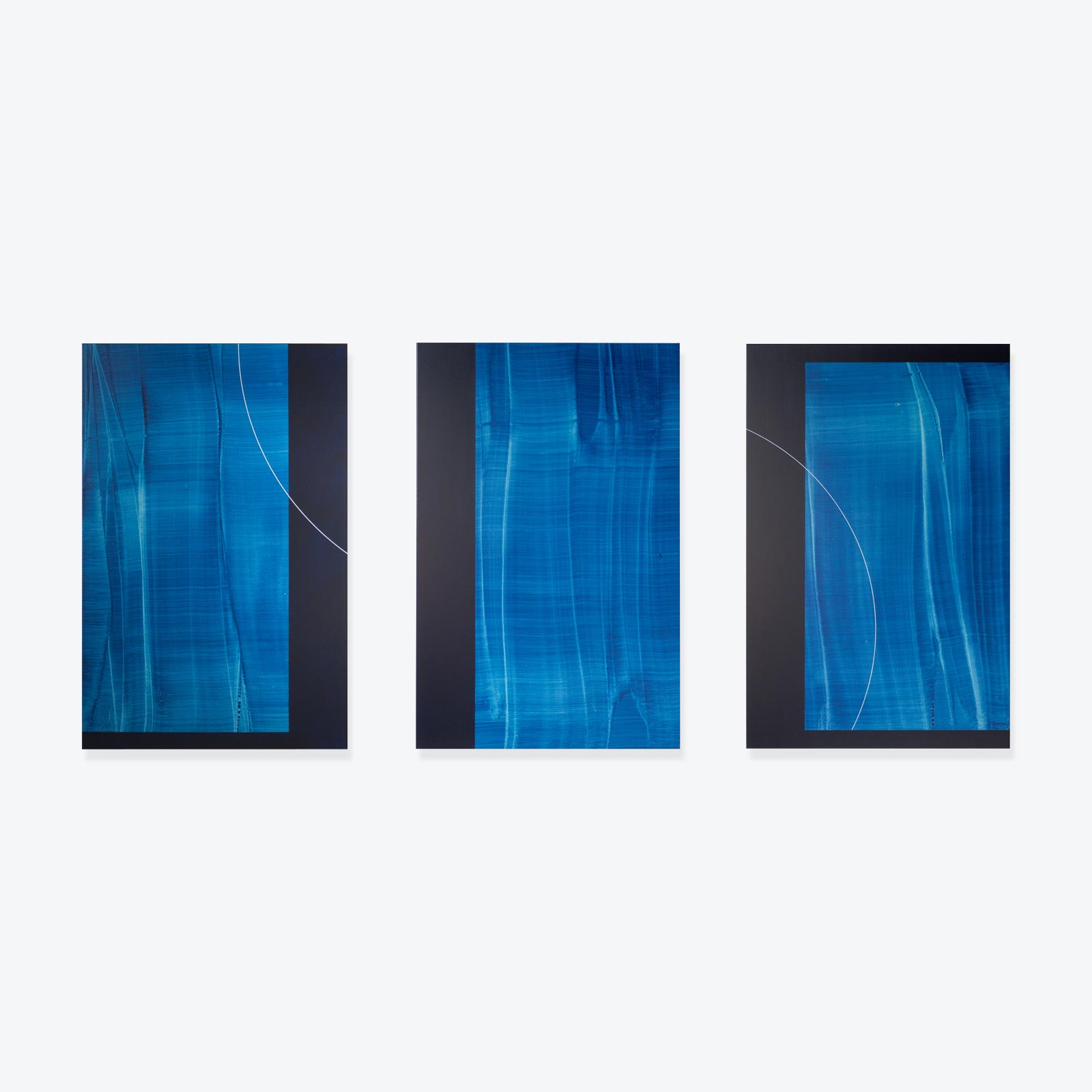 Deep Blue Three Iiiiii (trio) Original Painting By Taj Alexander 01