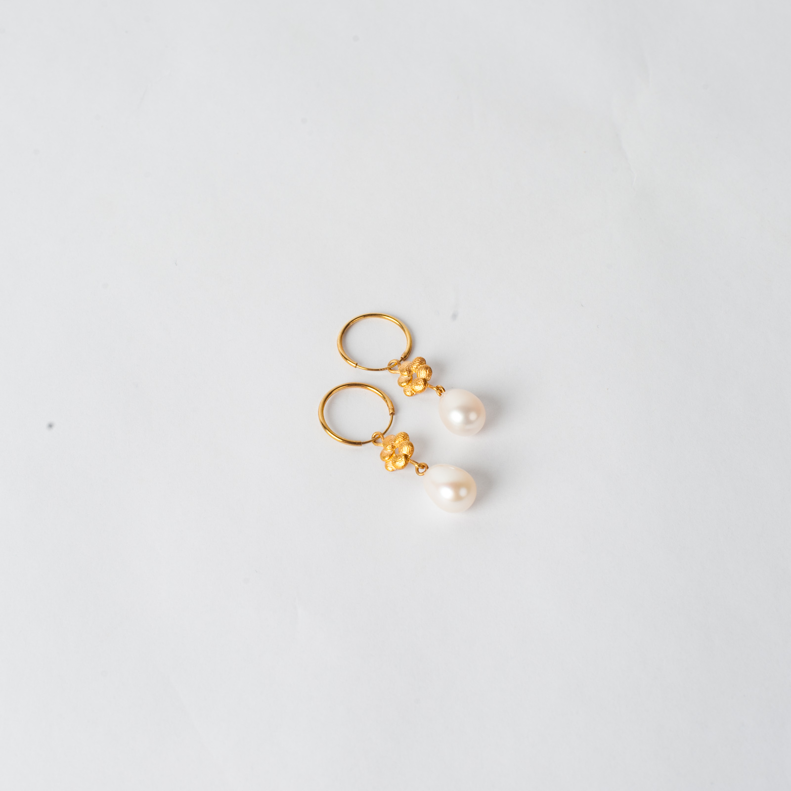 Precious Bloom Earrings In Gold Plated Sterling Silver With Freshwater Pearl By Yasmin Hackett 02
