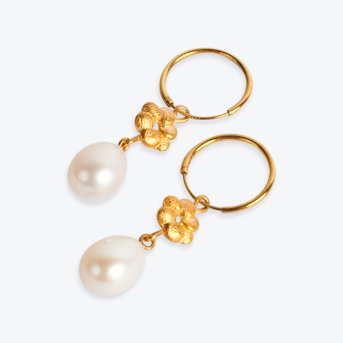 Precious Bloom Earrings In Gold Plated Sterling Silver With Freshwater Pearl By Yasmin Hackett Thumb1