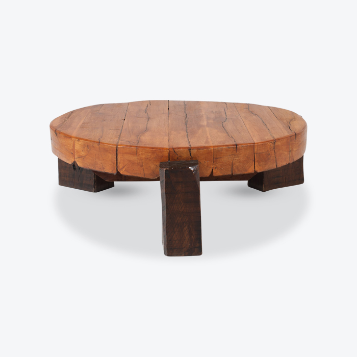 Round Coffee Table In Oak 1970s France Thumb.jpg
