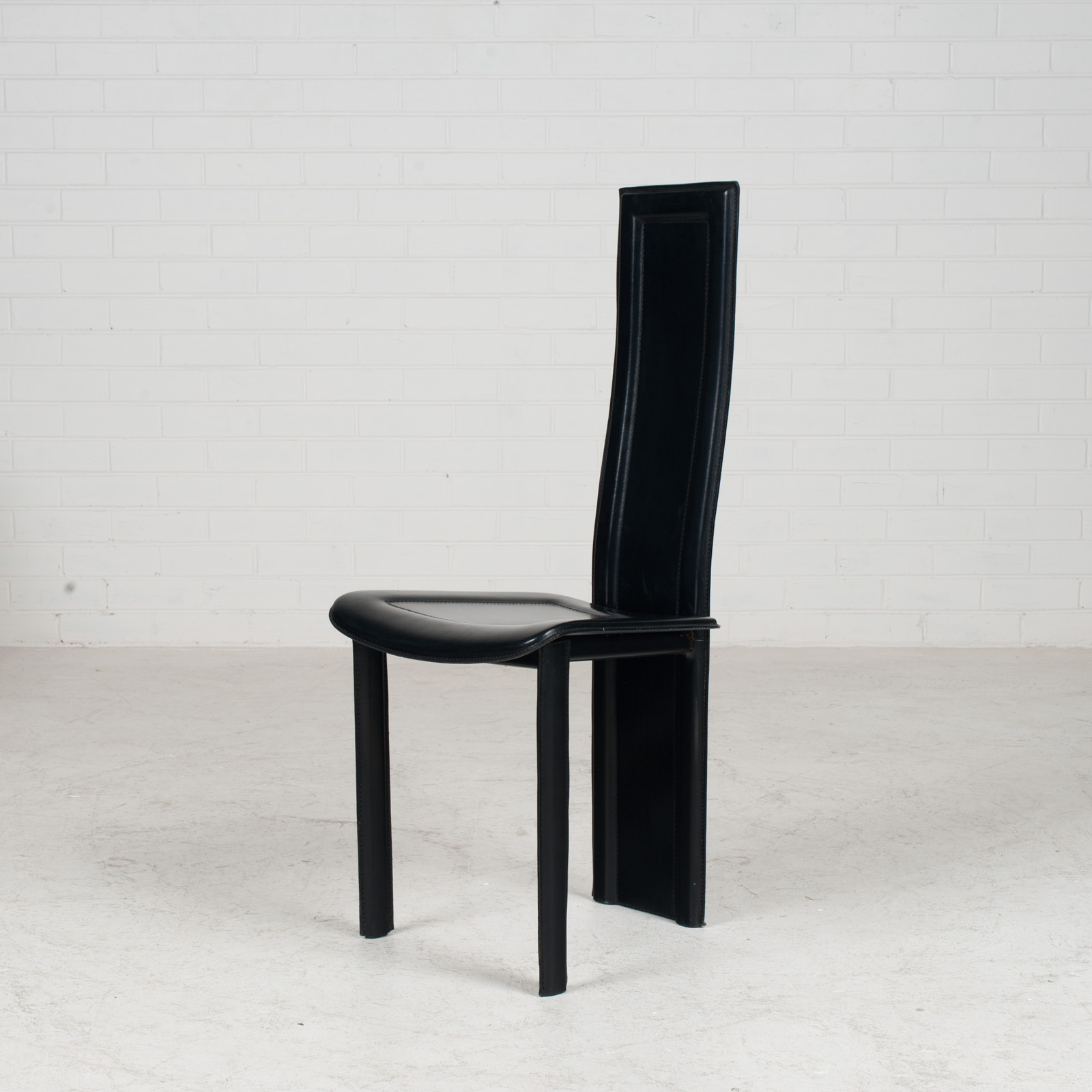 Set Of 4 Highback Dining Chairs By Fasem In Leather 1980s Italy 02