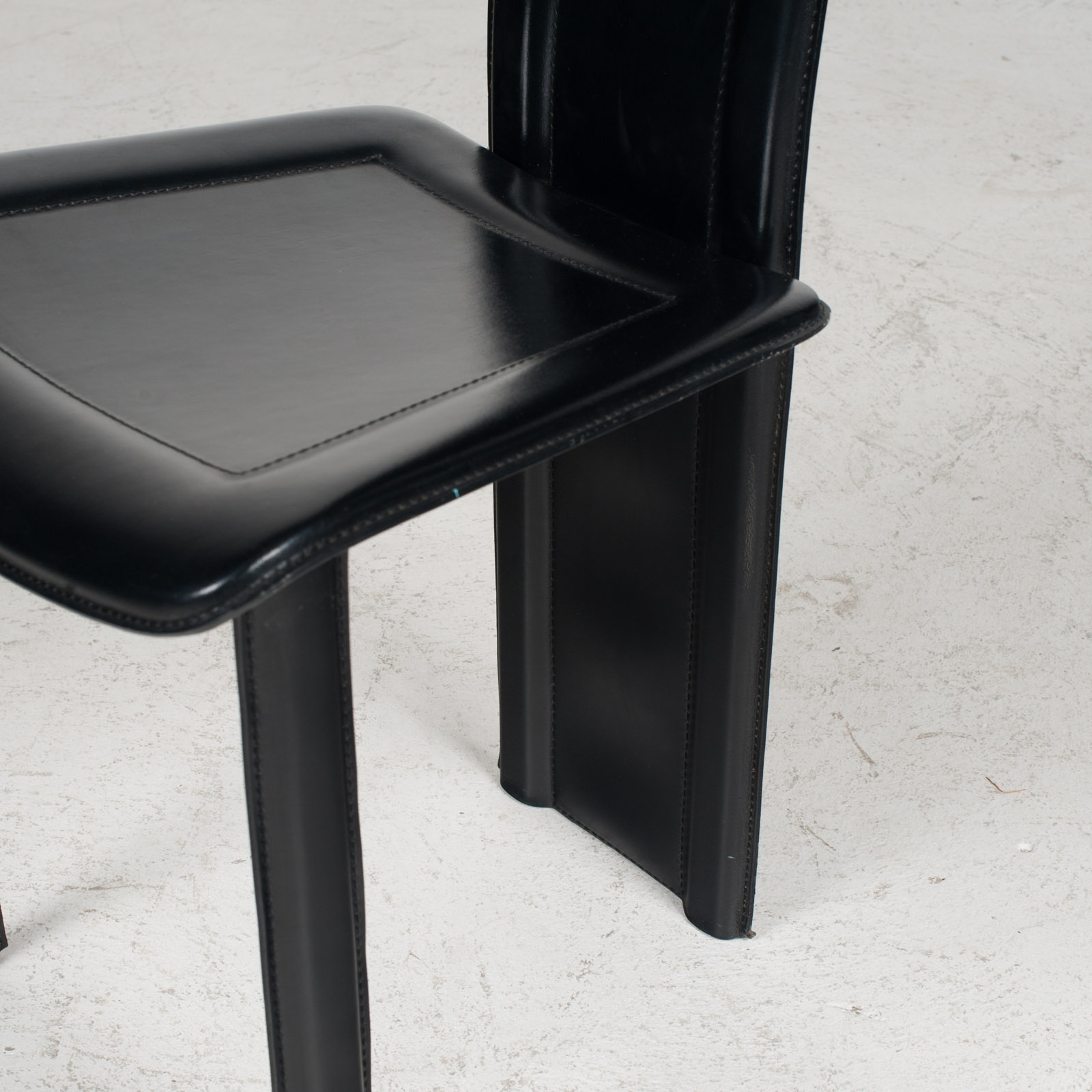 Set Of 4 Highback Dining Chairs By Fasem In Leather 1980s Italy 06
