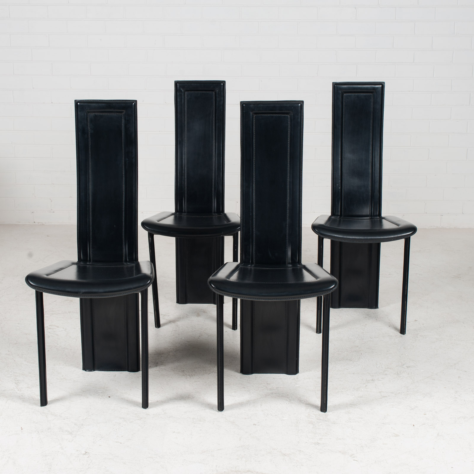 Set Of 4 Highback Dining Chairs By Fasem In Leather 1980s Italy 14