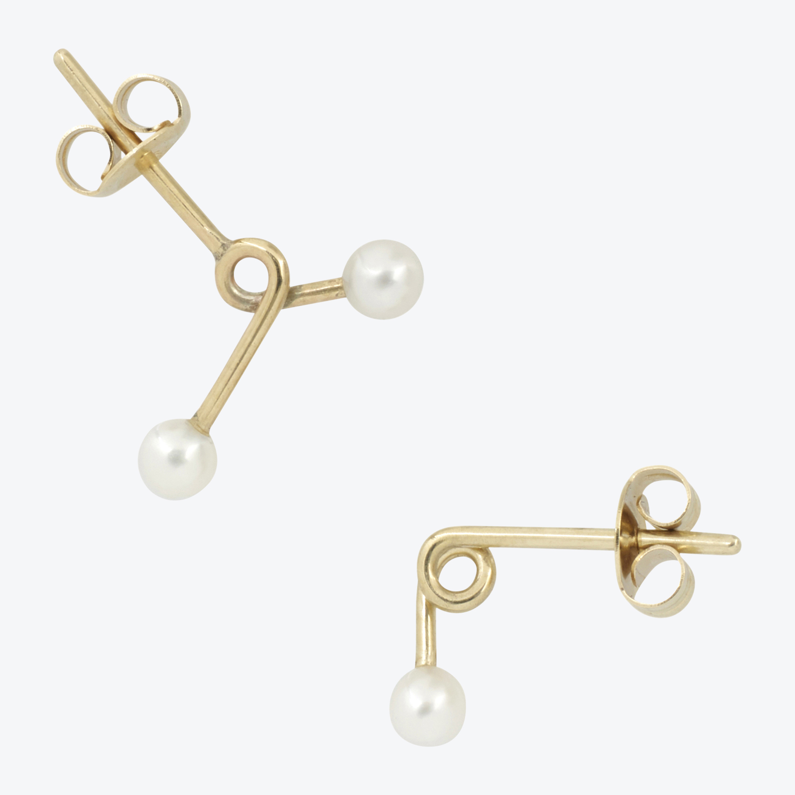 Twist Pearl Studs In 9ct Yellow Gold With Freshwater Pearls By Pip Stent.jpg