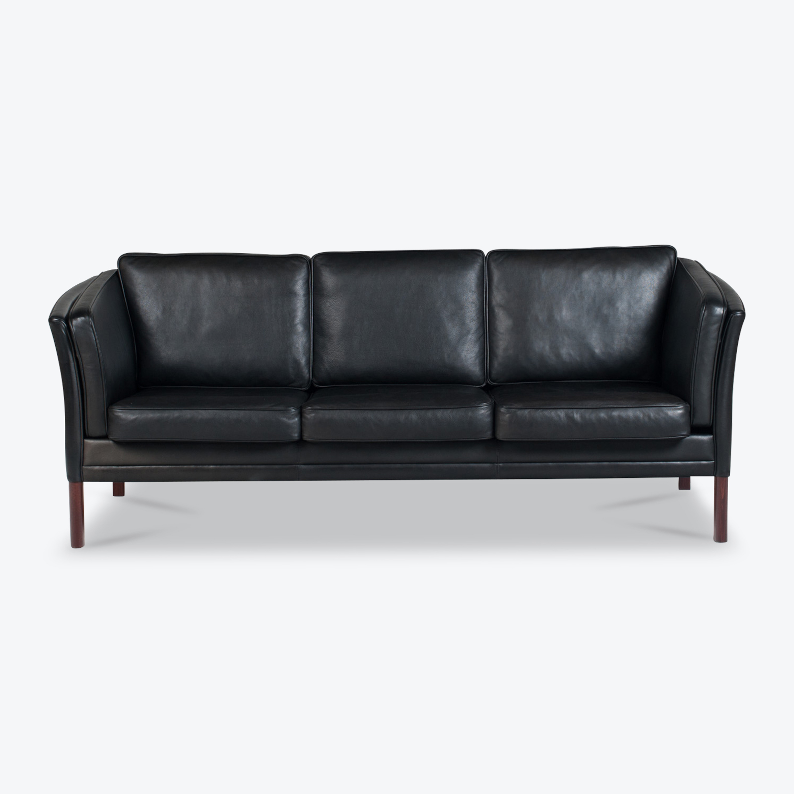 3 Seat Sofa In Black Aniline Leather 1960s Denmark 01