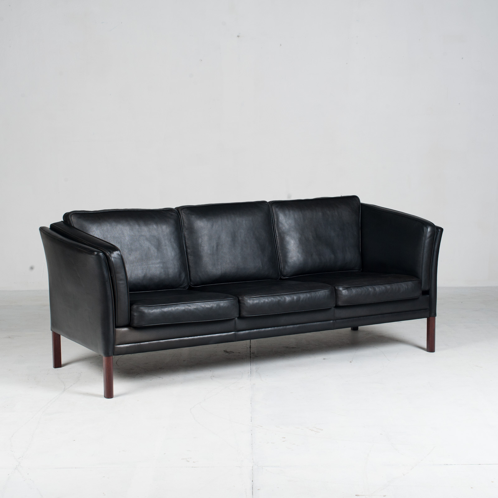 3 Seat Sofa In Black Aniline Leather 1960s Denmark 02